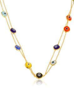 925 Sterling Silver Goldtone Multicolor Mini Evil Eyes Pendants 40 Inch Wrap Around Necklace