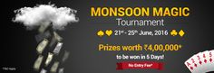 Take part in Monsoon rummy tournament and win Rs 4 lakh.
