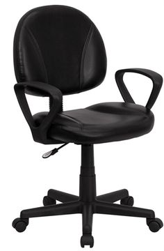 Flash Furniture Mid Back Black Leather Task Chair with Arms