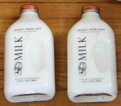 Raw cow's milk in glass bottles from Cricket Creek Farm in Williamstown, MA Farm Store, Glass Milk Bottles, Rustic Shabby Chic, Silk Flower Arrangements, Food Packaging, Organic Recipes, Silk Flowers, Cow, Cricket