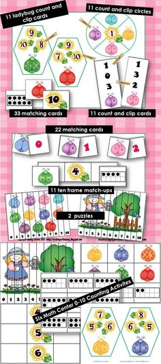 $4.00 These six Ladybug Counting activities will give your students practice with counting from 0-10, identifying ten frames, matching numerals to quantities and ordering numerals from 0-10.   Includes:  11 Ladybug Count and Clip Circles  11 Ladybug Count and Numeral Clip Cards  22 Ladybug and Numeral Matching Cards  11 Ladybug and Ten Frame Match Ups  11 Ladybug Count and Cards  2 Number ordering puzzles (0-10)