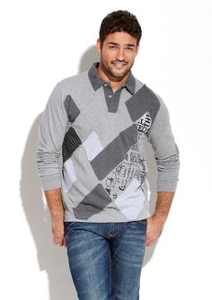 """DESIGUAL  Iroquez Polo  $43.99  $94.00          Heather knit polo      Collared neck and 2-button placket      Mixed print argyle front design      Long sleeves with banded cuffs    Material: 100% Cotton  Approx. measurements (size L): sleeve length 27"""", shoulder to hem 27""""  Care: Machine wash cold  Origin: Imported  Fit: This style runs true to size chart"""