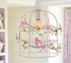 Pink Birdcage Chandelier   Pottery Barn Kids....I see a diy in the future!