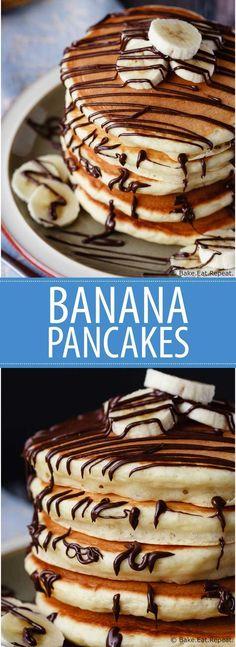 Banana Pancakes - Easy banana pancakes that mix up quickly and are a fantastic change from the usual buttermilk pancakes. The whole family will love these for breakfast!
