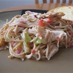"""Chicken Chile Spaghetti: """"Top with shredded mozzarella before baking, if desired. Also an easy recipe to make in your Crock-Pot ®--use no butter and add 1 cup of canned chicken broth. Slow Cooker Recipes, Crockpot Recipes, Chicken Recipes, Cooking Recipes, Pasta Recipes, Kid Recipes, Chicken Ideas, Dishes Recipes, Skillet Recipes"""
