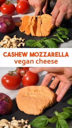 How to make easy cashew vegan cheese. This healthy dairy-free cheese is made from just 7 ingredients and can be made in 5 minutes. The cheese has a similar texture to mozzarella. Made from cashew nuts Vegan Cheese Recipes, Vegan Foods, Vegan Snacks, Vegan Dishes, Raw Food Recipes, Cooking Recipes, Healthy Recipes, Vegan Cashew Cheese, Cashew Recipes