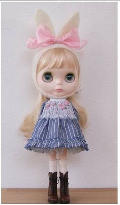 blythe outfit :::うさ耳帽子とお洋服set::: - ヤフオク!