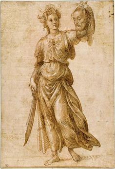 Judith montrant la tête d'Holoferne, Raffaellino del Garbo, XV-XVIe, aquarelle et lavis, Paris, Louvre
