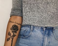 Amor completo (complete love) Rose tattoo. Script forearm