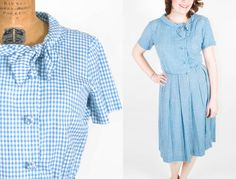 Vintage 50's Dress  Blue Gingham Classic Cotton by SwellFarewell, $74.00