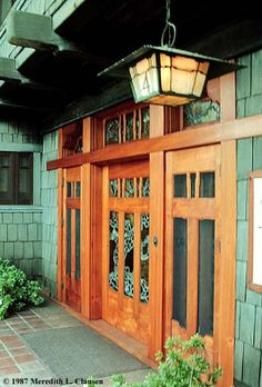 gamble house, stained glass craftsman style front door