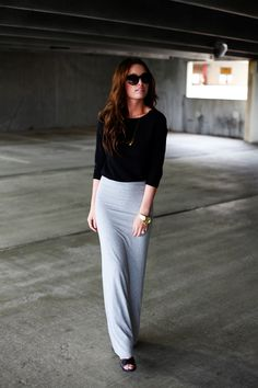 form fitting maxi skirt + 3/4 sleeve tee