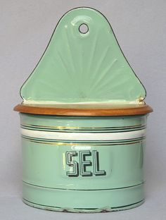 Early Vintage Graniteware - French Enamel Salt Box -1920s