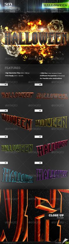 3D Rendered Halloween Text with 2 textures: metallic and fire/lava material. Great for party, festivals, concerts posters, flyer