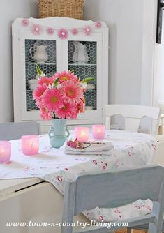 Pink Gerbera Daisies and Frosted Votives create a cottage style centerpiece