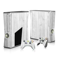 White Wood Board sticker skin for Xbox 360 slim - Decal Design