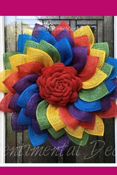 Check out this gorgeous rainbow flower! Crafted by Sentimental Decor using a Unique in the Creek wreath board, you can create your very own rainbow flower, Pride Month decorations using any Unique in the Creek wreath boards and craft supplies! Shop Unique in the Creek today! Burlap Flower Wreaths, Sunflower Wreaths, Deco Mesh Wreaths, Wreath Burlap, Chevron Wreath, Wreath Crafts, Diy Wreath, Burlap Crafts, Wreath Making