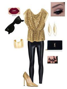"""Concert Ready!"" by meeps01 on Polyvore featuring Koral, Alice + Olivia, Jimmy Choo, Ray-Ban, Yves Saint Laurent, Jennifer Fisher, Fragments, Smashbox, rockerchic and rockerstyle"