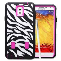SAMSUNG GALAXY NOTE 3 CASE, SHOCKPROOF DIRT PROOF HYBRID ARMOR COVER (ZEBRA PINK) | #cellphonegadgets #mobileaccessories www.kuteckusa.com