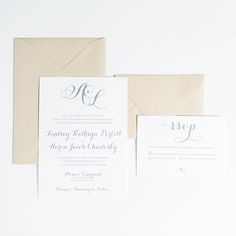 Customizable Wedding Invitation - Pre-Designed - The Lindsay Collection - Invitation & RSVP - Twila & Co. - Invitation Suite, Paper goods, Stationery, Monogram