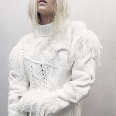 Contemporary Knitwear - white sweater with mixed knit detail & soft textures // Coach Fall 2015