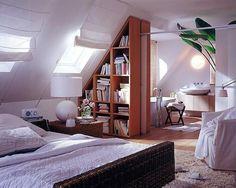 Loft Conversion With Sloped Bookshelf Sliding Room Divider   Love this semi-open bed & bath set up.