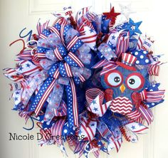 XL Happy 4th of July Owl Patriotic Red, White and Blue Indoor Outdoor Deco Mesh Wreath!