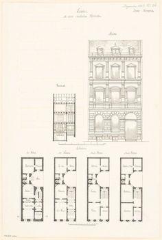 Grundriss Keller, Erdgeschoss, 1. und 2. Obergeschoss, Querschnitt, Aufriss Straßenansicht; 2 Maßstabsleisten and Aufbewahrung/Standort:
