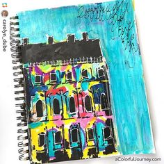 Wouldn't it be fun to paint your house like @carolyn_dube's art journal page…