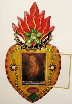 Mexican Folk Art - Painted Tin Heart Nicho w/Virgin Guadalupe | eBay