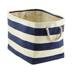 Navy & Ivory Rugby Stripe Bins