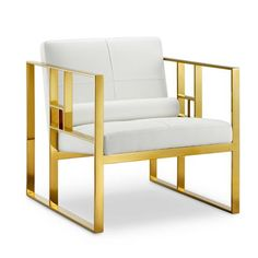 The Westgate Lounge Chair has a futuristic look that can bring some modern style to any living room. With a chic faux leather seat and polished stainless steel legs with a gold finish, the Westgate is