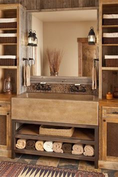 : Unique Lucky Star Ranch Traditional Bathroom Design Interior Decorated With Small Rustic Bathroom Vanities Furniture Ideas