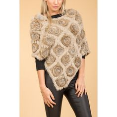 Jayley Mocha Rosette Fur Poncho found on Polyvore featuring women's fashion, outerwear and fur poncho