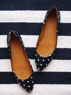 Gorgeous white polka dot heel flats fashion