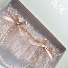 Florrie Mitton bespoke French lace garter in pale blush Florriemitton.etsy.com