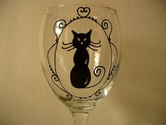 Black cat Hand painted wine glass by ROCKYBCREATIONS on Etsy