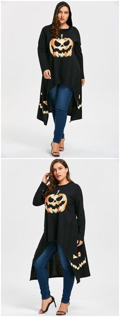 Plus Size High Low Hooded Halloween Pumpkin Tee - Black 5xl