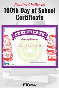 PTO Leaders: Get our free Reading Challenge Certificate! Reading Challenge, 100 Days Of School, Pta, 100th Day, Free Reading, Shank, Certificate, The 100, Preschool