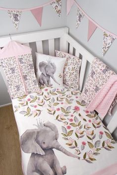 Pink elephant nursery bedding, nursery crib, girl nursery, nursery ideas, g Elephant Nursery Bedding, Nursery Crib, Girl Nursery, Nursery Ideas, Elephant Baby Nurseries, Dumbo Nursery, Elephant Themed Nursery, Elephant Room, Elephant Quilt
