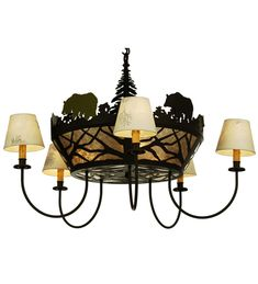 Meyda Tiffany Bear on the Loose 5 Arm Chandelier
