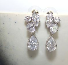 Cubic Zirconia Three Shape Post Earrings With Clear White Teardrop Bridesmaid Jewelry Bridal
