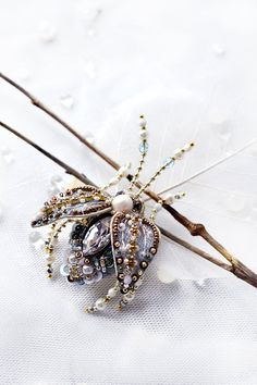 Rhinestone brooch Insect brooch Beetle jewelry Shiny brooch Insect jewelry Pearl Bronze Blue Beetle pin Christmas Gift for Beloved Wife