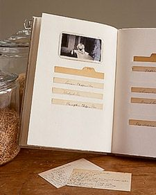 Family Recipe Scrapbook. A recipe scrapbook safeguards fragile original cards, preserving handwritten notes along with ancient spills and spatters. Photos of family gatherings at the table -- and stove -- complete the story. On the following pages are five steps to organizing cherished old recipe cards as well as recent favorites.
