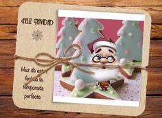 Tarjeta de Feliz Navidad, Santa Claus junto a galletas