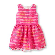 The Childrens Place - This floral dress has vivid stripes and a lot of swing!