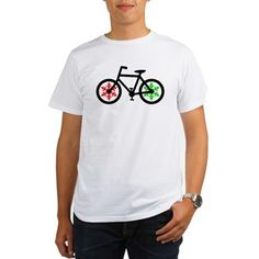 Christmas bicycle with green and red snowflake T-S