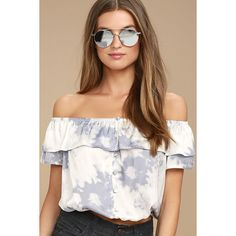 Cotton Candy Daydream Blue Grey Tie-Dye Off-the-Shoulder Top ($42) ❤ liked on Polyvore featuring tops, blouses, blue, blue crop top, cropped tops, off-the-shoulder ruffle tops, off the shoulder blouse and off shoulder ruffle blouse