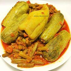 فاصوليا بعبها محشي ، اكلة حلبية بحتة عريقة ..  Green beans with stuffed zucchini.. Exclusively from Aleppo cuisine, Syria ..