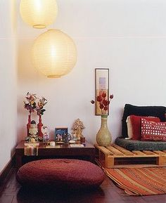 Worthy automated meditation room design Don't Miss It Sala Oriental, Oriental Decor, Meditation Raumdekor, Meditation Room Decor, Outdoor Folding Chairs, Pallet Sofa, Pallet Furniture, Japanese House, Ideal Home
